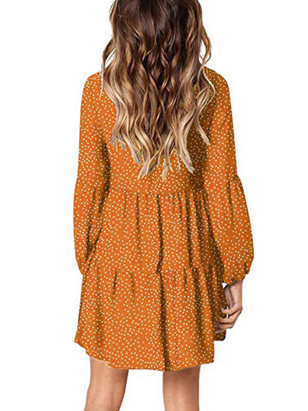 Casual V Neck Long Sleeve Polka Dot Ruffled Loose Mini Dress - Luckinchic