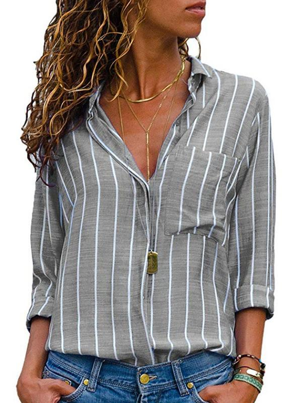 Clearance - Casual Shirt Collar Long Sleeve Striped Blouses - Luckinchic - LuckinChic.com