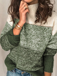 Casual Long Sleeve Turtleneck Color Block Striped Knitted Pullover Sweater - Luckinchic