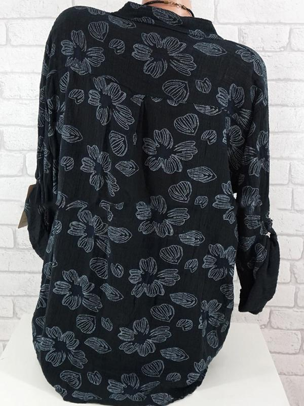 Clearance - Floral Casual Polyester Collar Long Sleeve Blouses - Luckinchic - LuckinChic.com