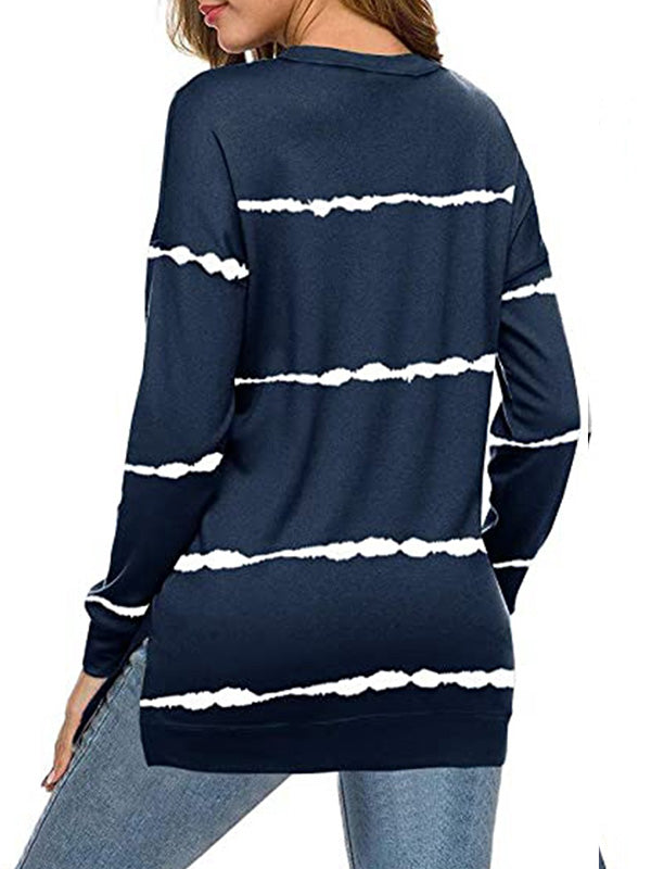 Casual Round Neck Tie Dye Printed Striped Loose Long Sleeve Pullover Top - Luckinchic