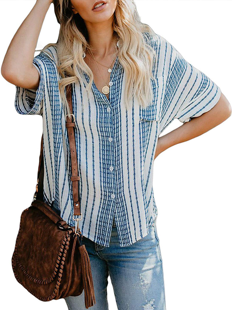 Stripes Roll Up Sleeve Button Down Blouses