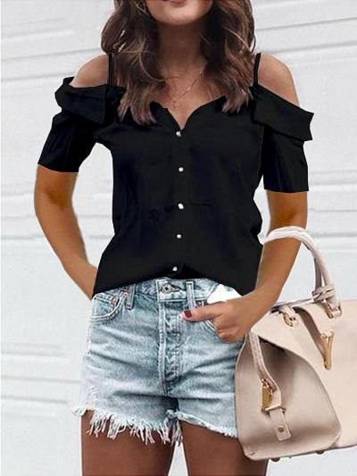 Casual Off The Shoulder Short Sleeved Blouse