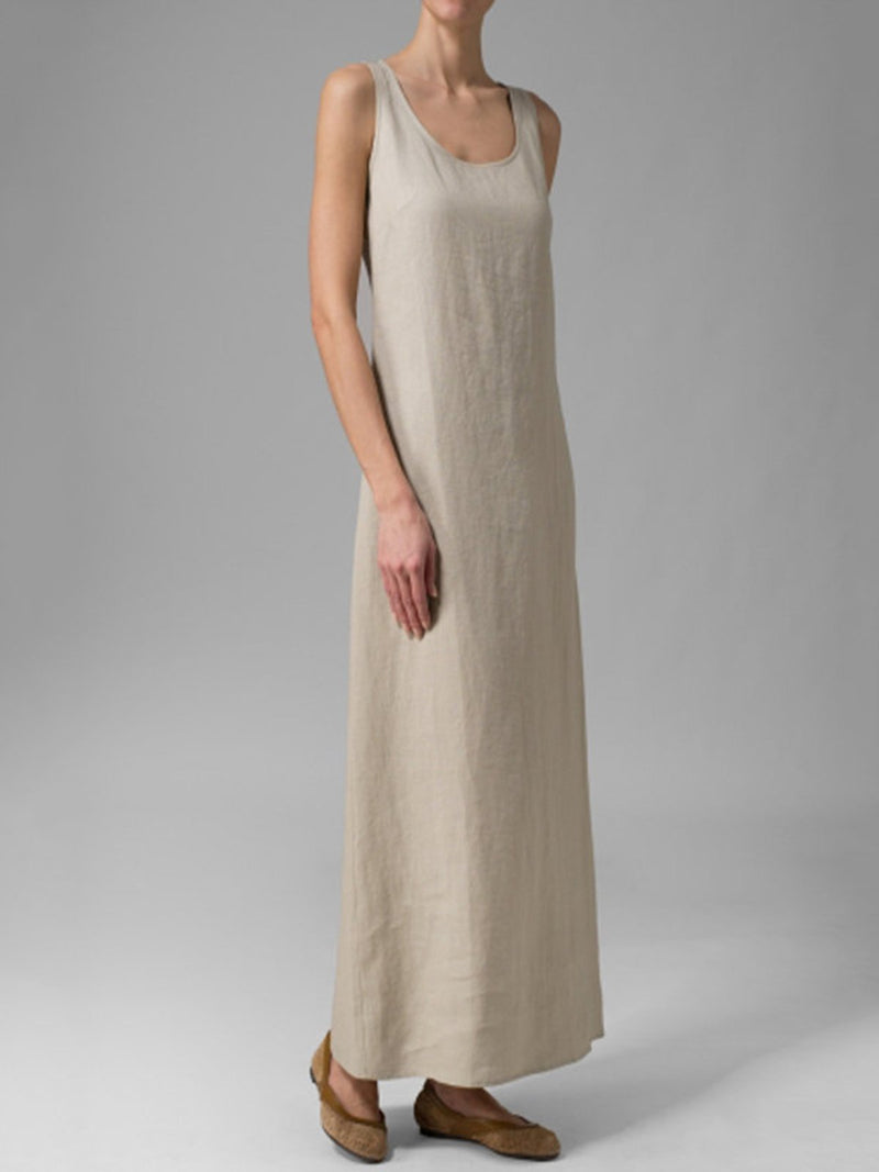 Daily Basic Linen Scoop Neck Sleeveless Maxi Dress