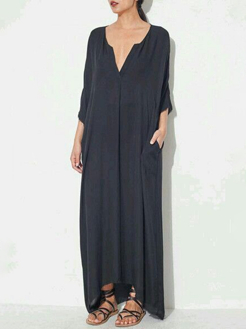 Gray Casual 3/4 Sleeve Plunging neck Asymmetrical Maxi Dress