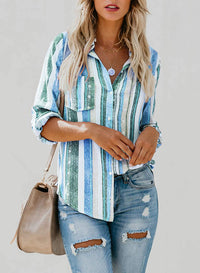 Rainbow Striped Button Down Blouse - Luckinchic