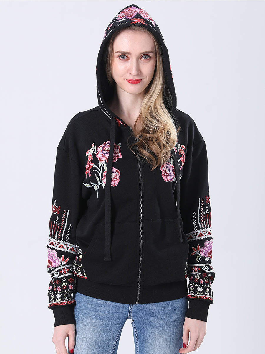 Floral Bohemian Embroidered Dropped Shoulder Long Sleeve Zip Up Hooded Jacket