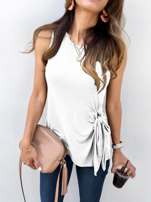 Casual Sleeveless Knotted T-Shirt