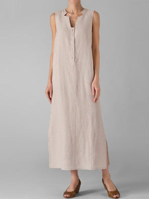 Casual Slit Stand Collar Sleeveless Shift Linen Slit Maxi Dress