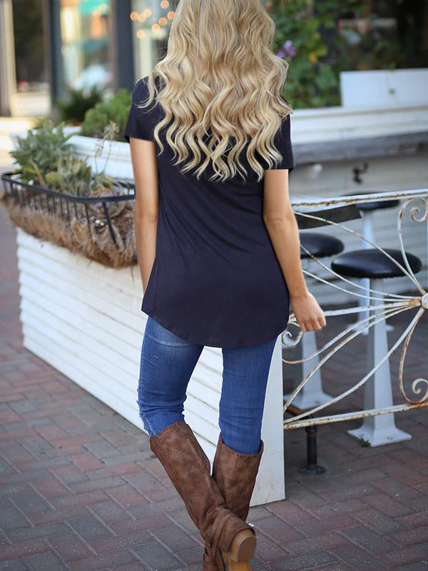 Short Sleeve Stripe Casual Irregular Hem T shirt