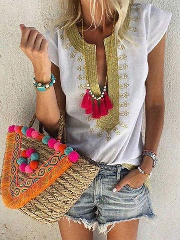 Boho Embroidered Short Sleeve Blouse