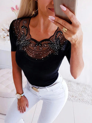 Sexy Lace Round Neck Short Sleeve T Shirts - Luckinchic