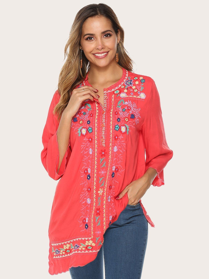 Glamorsoul Embroidered Bohemian Floral V Neck 3/4 Sleeve Blouses Best Gifts for the Season & Christmas - Luckinchic - LuckinChic.com