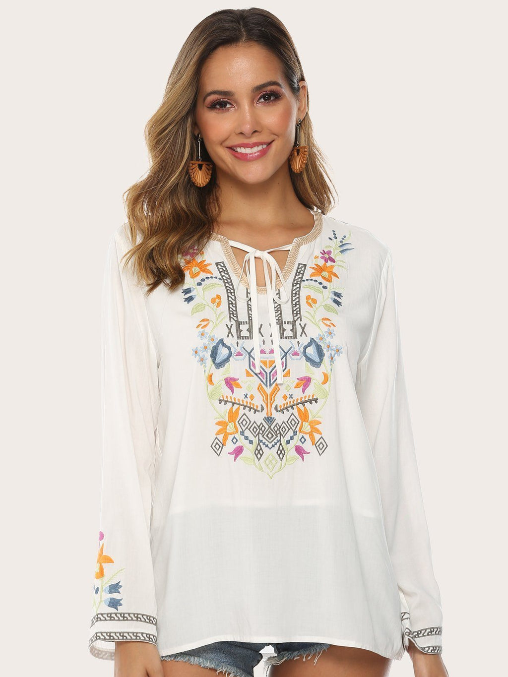 Bohemian Embroidered Floral V Neck Long Sleeve Blouses Best Gifts for the Season & Christmas - Luckinchic - LuckinChic.com