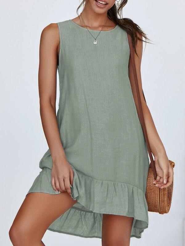 Casual Round Collar Sleeveless Plain A Line Dress