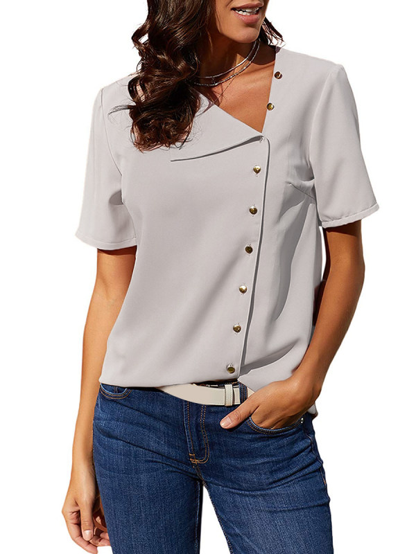 Chiffon Asymmetric Neck Plain Short Sleeve Blouse