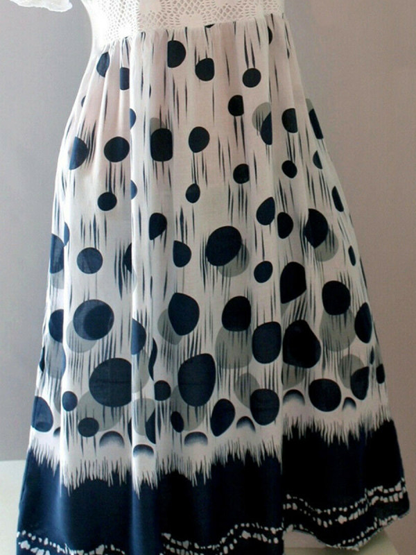 Round Neck Patchwork Polka Dot Shift Dress