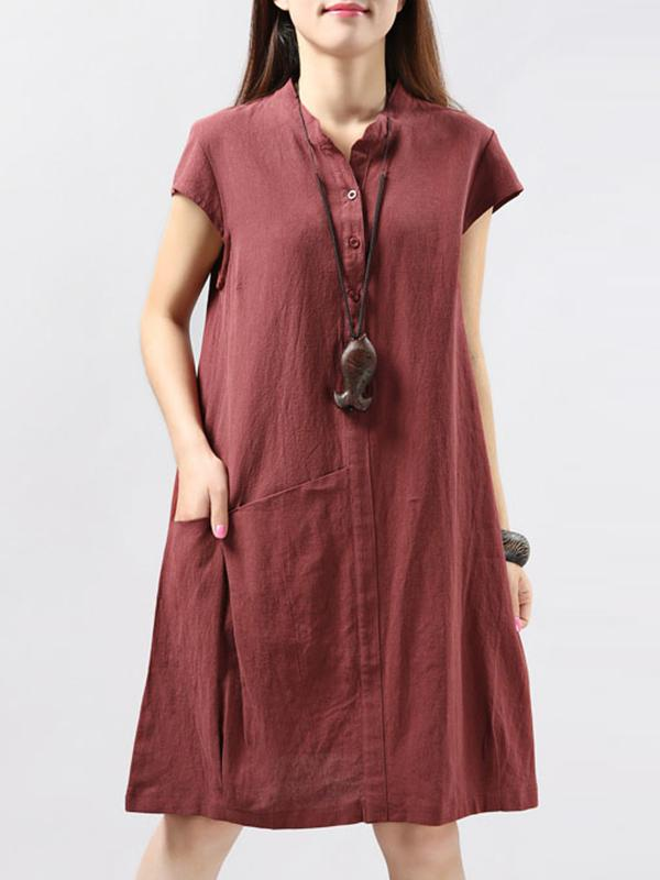 Casual A Line Linen Short Sleeve Solid Midi Dress