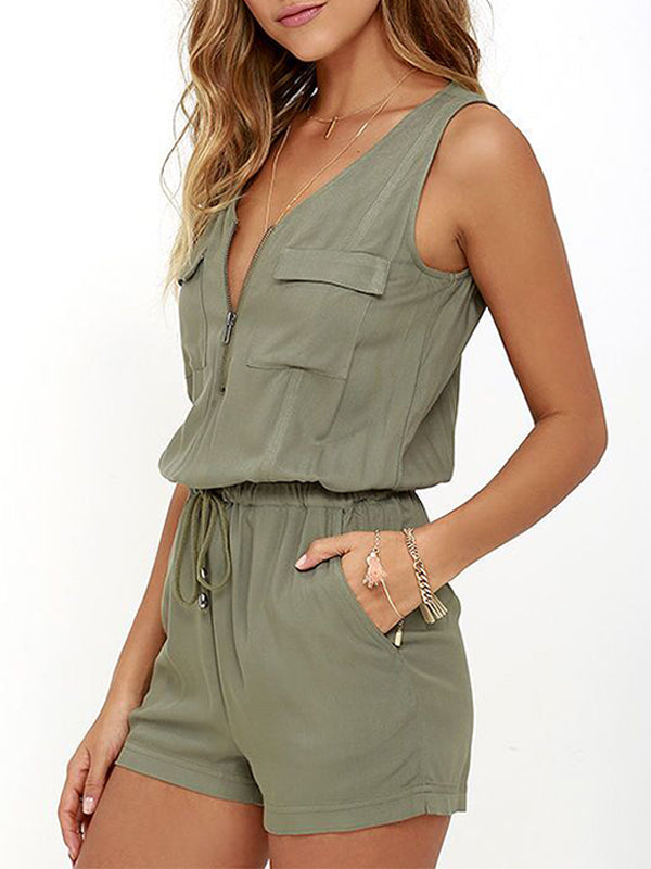 Solid Colored Sleeveless V Neck Romper