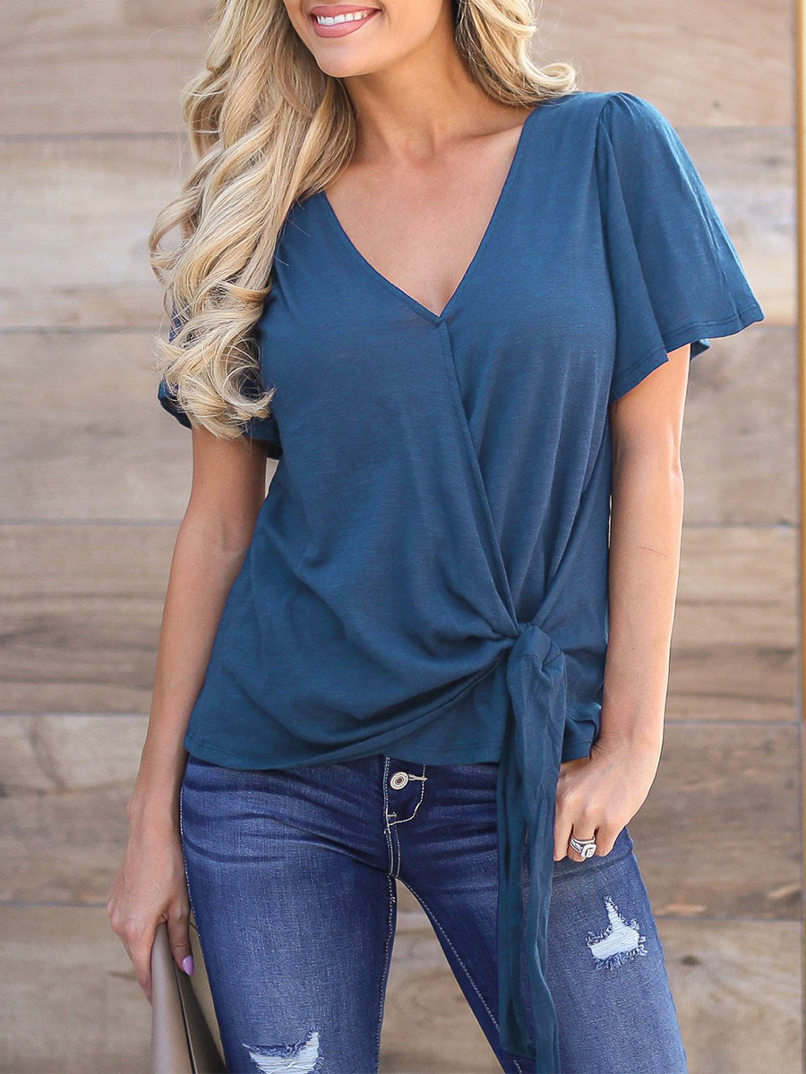 Surplice V Neck Flutter Sleeve Tee Shirt