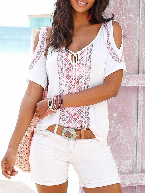Boho Printed Cut Out Short Sleeve T Shirts