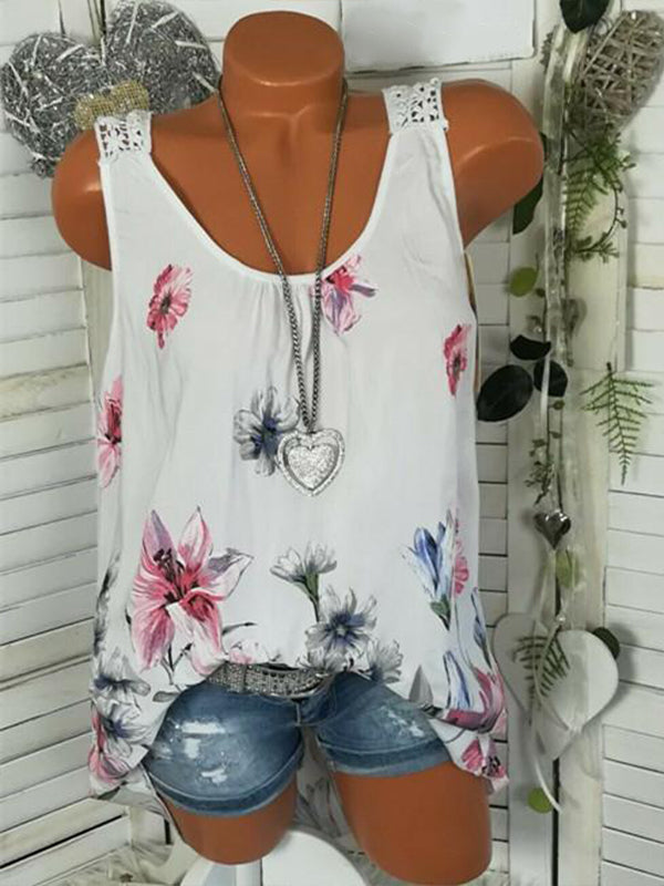 Round Neck Lace Back Design Floral Vest - LuckinChic.com