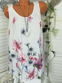 Clearance - Round Neck Lace Back Design Floral Vest - Luckinchic - LuckinChic.com