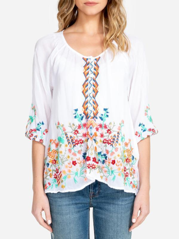 Embroidered Bohemian Floral Casual Round Neck Half sleeve Peasant Blouses