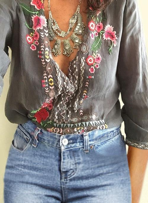 Embroidered Bohemian Floral Casual V-Neckline 3/4 Sleeves Blouses