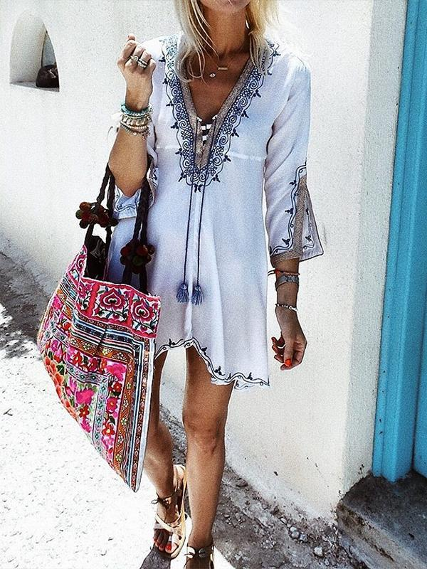 Boho 3/4 Sleeve Floral Embroidered Dress