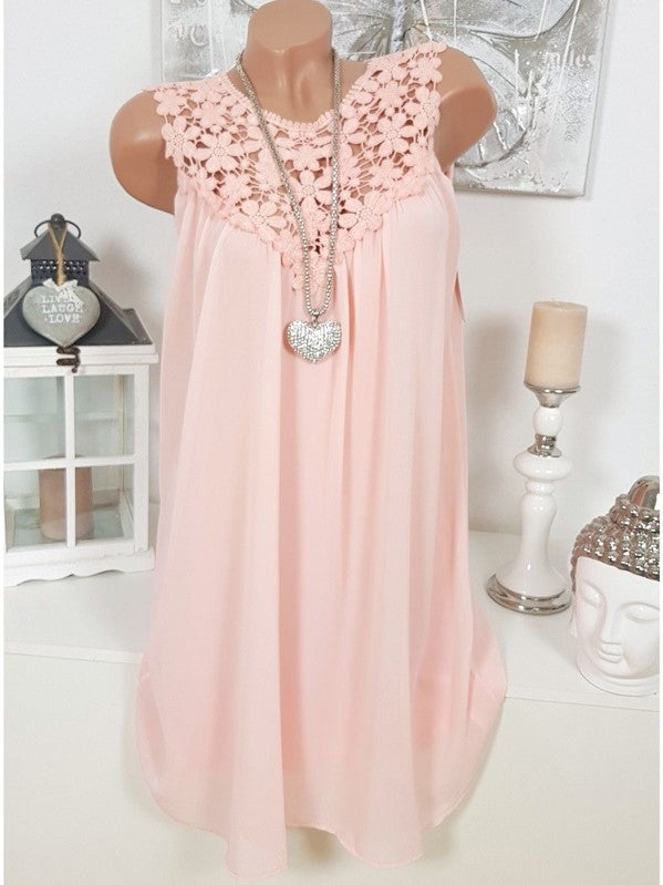 Lace Round Neck Chiffon Sleeveless Vest