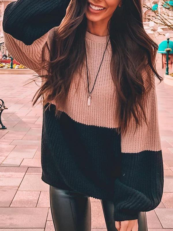 Casual Round Neck Patchwork Long Sleeve Sweater