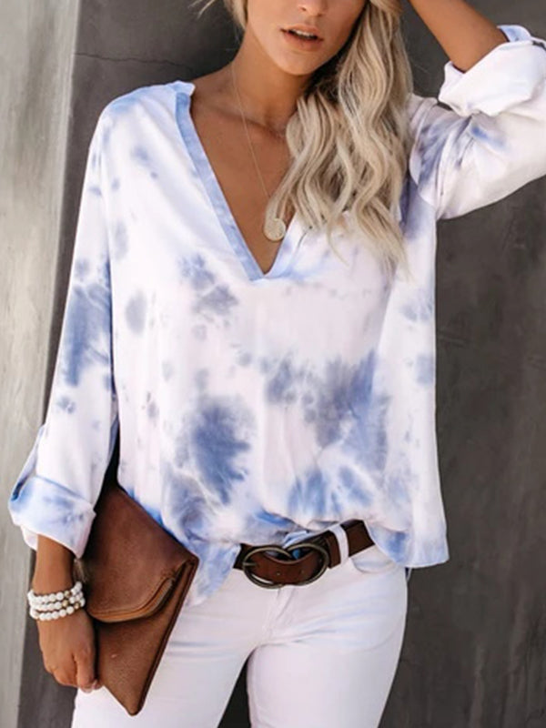 Tie-Dye V Neck Long Sleeve T Shirts