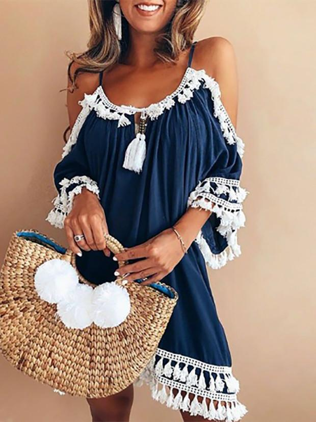 Cold Shoulder Casual Solid Fringed Spaghetti Dress