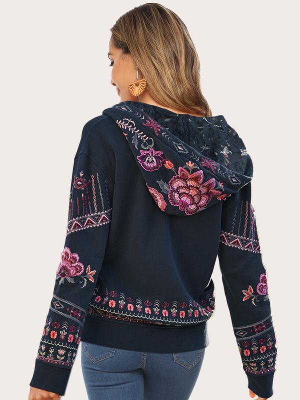 Embroidered Floral Bohemian Dropped Shoulder Long Sleeve Zip Up Hoodie - Luckinchic - LuckinChic.com