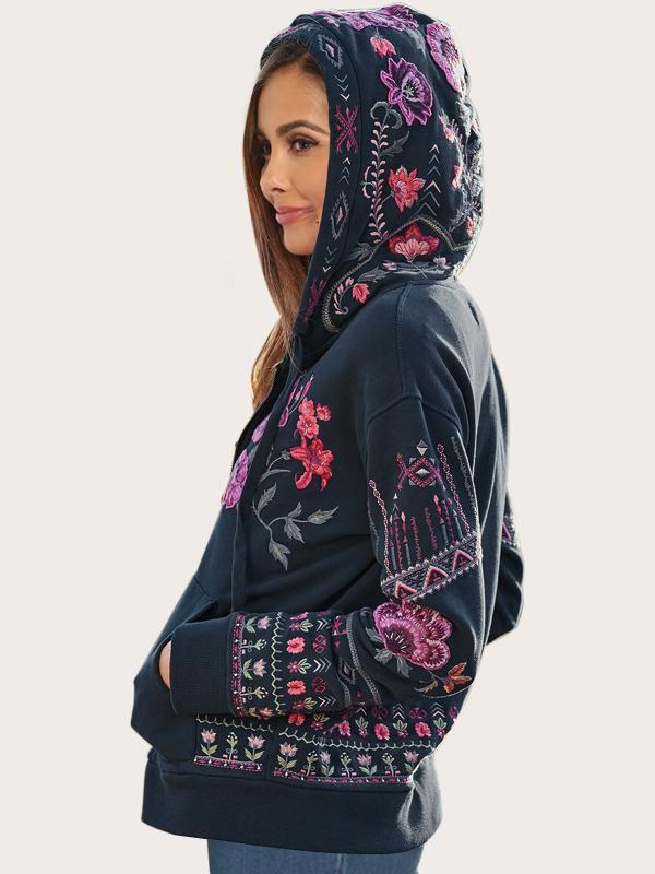 Floral Bohemian Embroidered Dropped Shoulder Long Sleeve Zip Up Hoodie