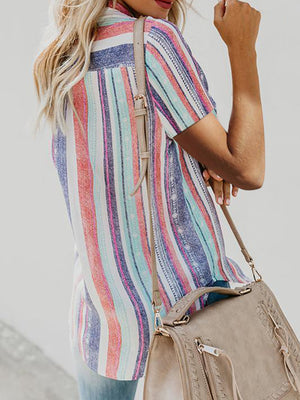 Rainbow Striped Button Down Blouse