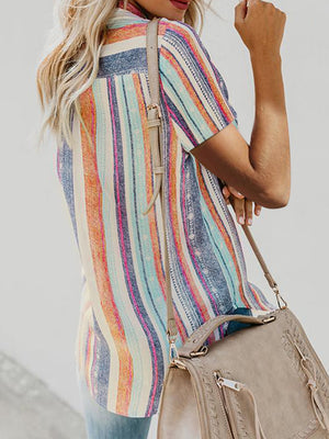 Rainbow Short Sleeve Striped Button Down Blouse - Luckinchic
