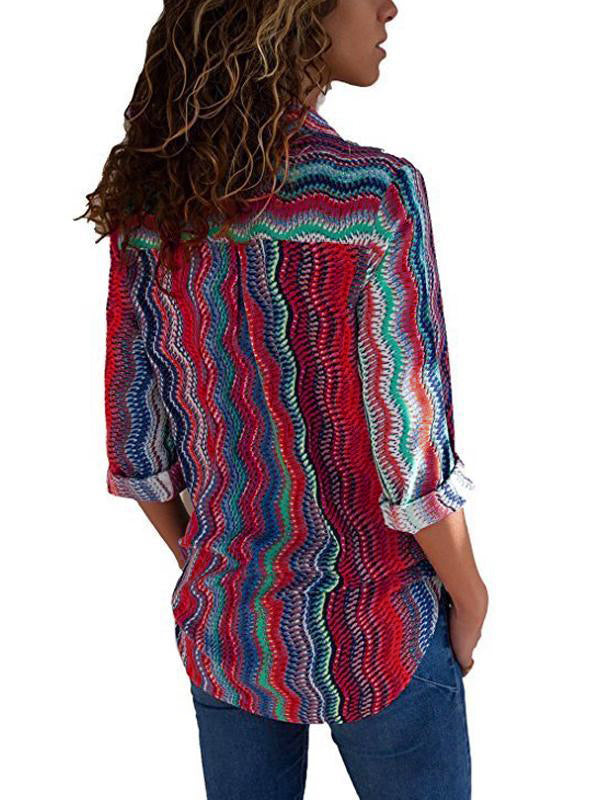 Rainbow Striped Shirt Collar Long Sleeve Blouse