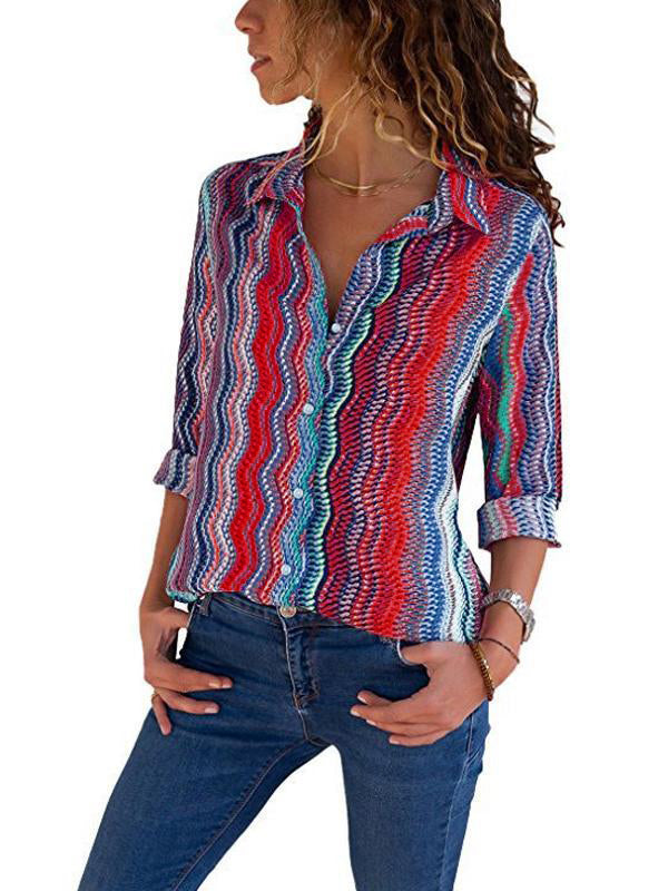 Clearance - Rainbow Striped Shirt Collar Long Sleeve Blouse - Luckinchic - LuckinChic.com