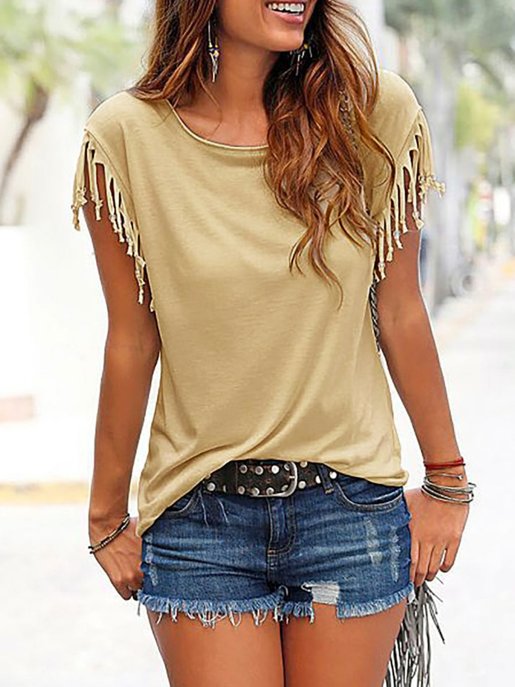 Plain Crew Neck Short Sleeve T-shirt - Luckinchic - LuckinChic.com