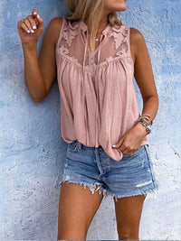 Henry Neck Lace Patchwork Sleeveless Casual Blouse - Luckinchic - LuckinChic.com