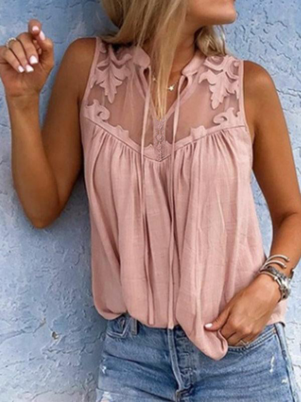 Henry Neck Lace Patchwork Sleeveless Casual Blouse - LuckinChic.com