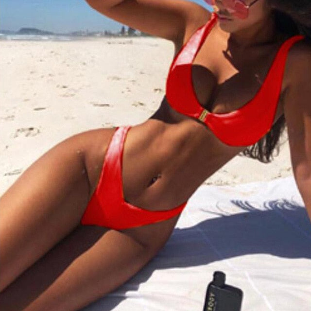 Bikini 2020 Solid Swimsuit Women Swimwear Bikini Set Patchwork Summer Beach Bathing Suit Swim Wear