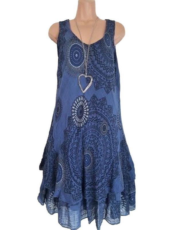 Ethnic Sleeveless Double-layer Print Mini Dress