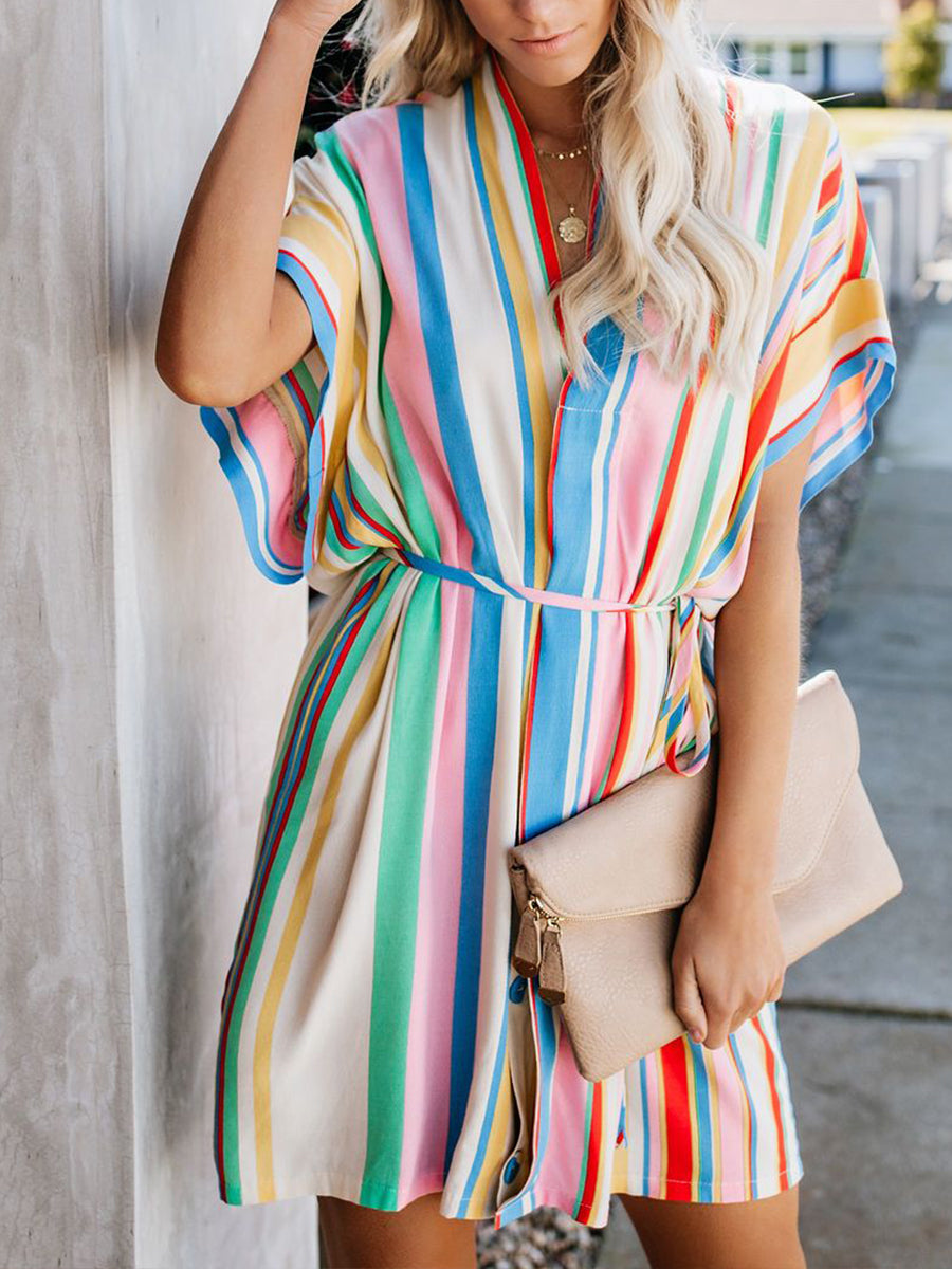 Rainbow Striped Button Down Mini Dress