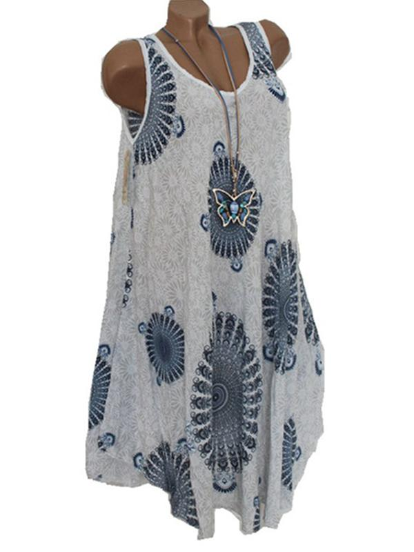 Bohemian Floral Sleeveless Summer Beach Mini Dress