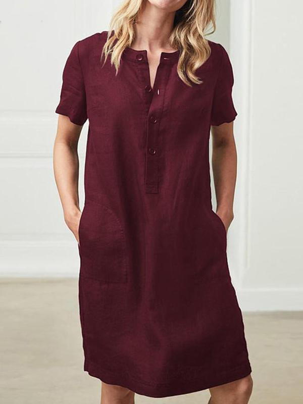 Casual Linen Short Sleeve Solid Midi Dress