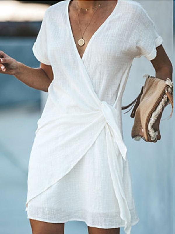 Casual V Neck Plain Short Sleeve Dresses - LuckinChic.com