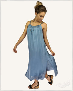 Fairy Silk Maxi Dress (Indigo) - WillowTribe
